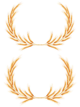 reaping: Two Wheat ears Wreath with space for text. EPS 10 vector file included Illustration