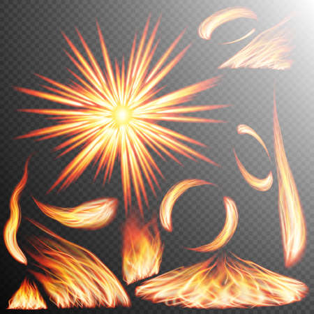 transparency: Fire flame strokes realistic isolated on transparent background. EPS 10 vector file included