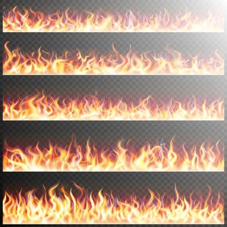 Ensemble de feu flammes réalistes sur fond transparent. Effets spéciaux. éléments translucides. grille de transparence. fichier 10 vecteur EPS inclus Vecteurs