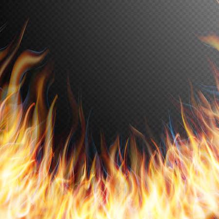 efectos especiales: La quema de la llama del fuego sobre fondo transparente. Efectos especiales. elementos translúcidos. cuadrícula de transparencia. archivo vectorial EPS 10 incluido