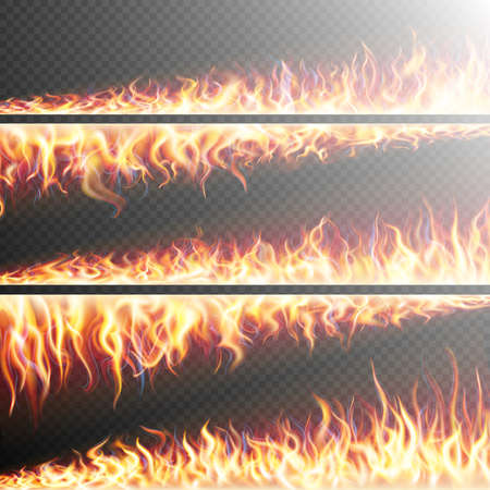 Set of Fire flames on transparent background. Special effects. Translucent elements. Transparency grid. EPS 10 vector file included