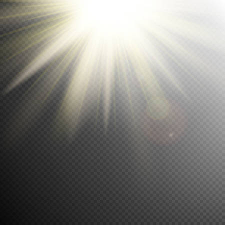 Yellow orange warm light effect, sun rays, beams on transparent background. EPS 10 vector file included Stock Illustratie