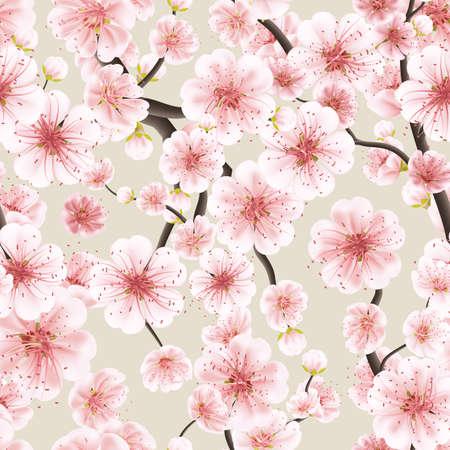 flor de cerezo: Diseño de fondo transparente de color rosa Flor de Sakura o flor de cerezo japonés simbólica de la primavera en un formato cuadrado disposición aleatoria adecuada para la industria textil. archivo vectorial EPS 10 incluido Vectores