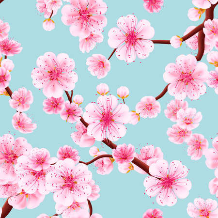 Seamless background pattern of pink Sakura blossom or Japanese flowering cherry symbolic of Spring in a random arrangement square format suitable for textile. EPS 10 vector file included