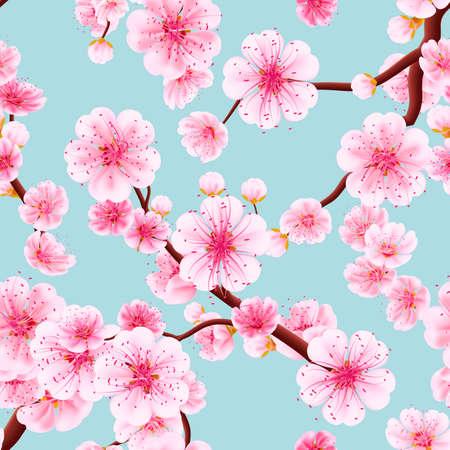 fleur de cerisier: Seamless fond rose Sakura fleur ou japonais cerise de floraison symbolique de printemps dans un format carré arrangement aléatoire approprié pour textile. fichier 10 vecteur EPS inclus