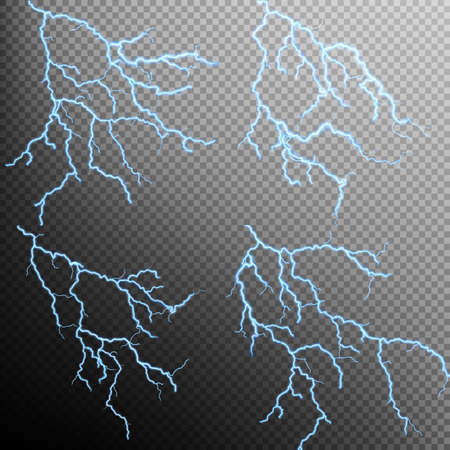 dazzle: Set of the isolated realistic lightnings with transparency for design. Thunder-storm and lightnings. Magic and bright lighting effects. Natural effects. EPS 10 vector file included