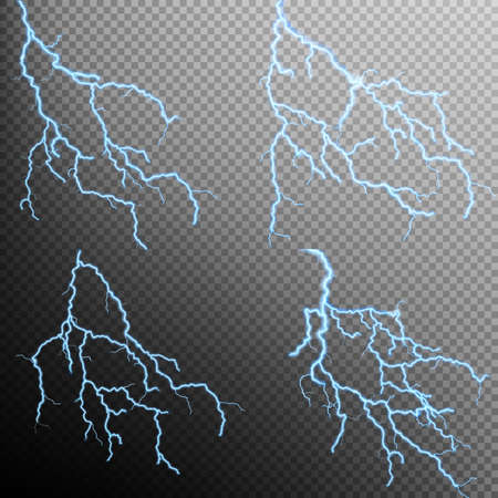 lightnings: Set of the isolated realistic lightnings with transparency for design. Natural effects. Magic and bright lighting effects. Thunder-storm and lightnings.. EPS 10 vector file included Illustration