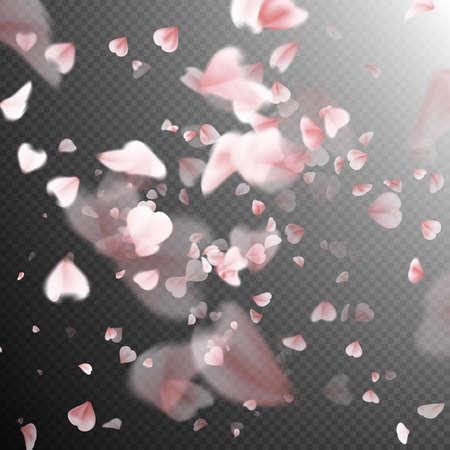 cerezos en flor: pétalos de cerezo brillante caída hacia abajo. Una gran cantidad de pétalos de rosa sobre fondo transparente. telón de fondo la naturaleza. archivo vectorial EPS 10 incluido Vectores