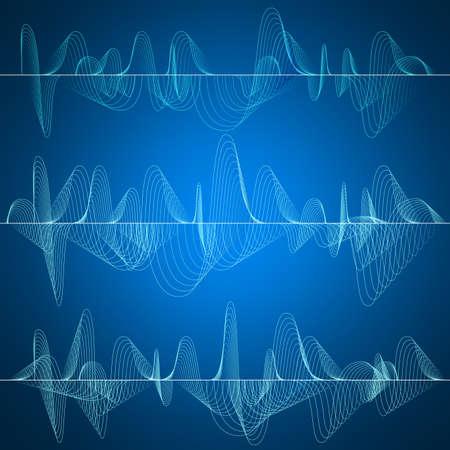 Set di 3 un'onda sonora, impulsi astratto. concetto di Wave. File EPS 10 vettore incluso Vettoriali