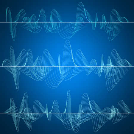 Set of 3 Sound wave, abstract pulse background. Wave concept. EPS 10 vector file included Illustration