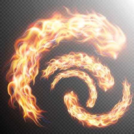 special effects: Set of realistic fire flames on transparent background. Special effects. Translucent elements. Transparency grid. vector file included