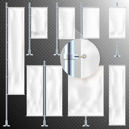 Set of 8 Realistic white advertising textile flags and banner. Fabric canvas poster.  vector file included
