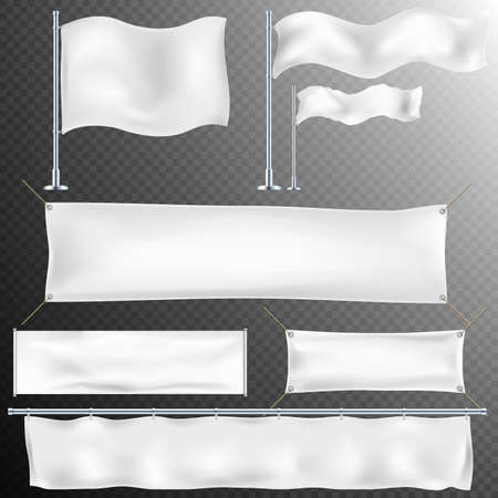Set of 8 Realistic white advertising textile flags and banner. Fabric canvas poster. EPS 10 vector file included Stock Illustratie