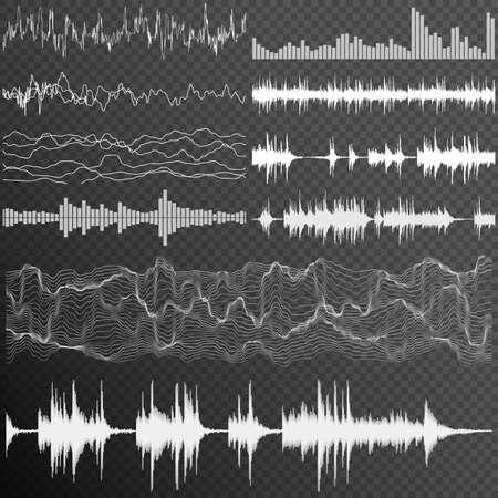 waveform: Set of Ten Music sound waves on transparent background. Music sound waveform. Sound waves. Audio equalizer.vector file included