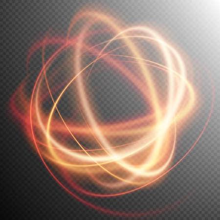 Efecto de luz, línea de oro, efecto de remolino de luz, la luz de fondo, la chispa de luz, efecto de brillo, resplandor de luz, archivo de rastreo effect.vector anillo de fuego que brilla incluido Ilustración de vector