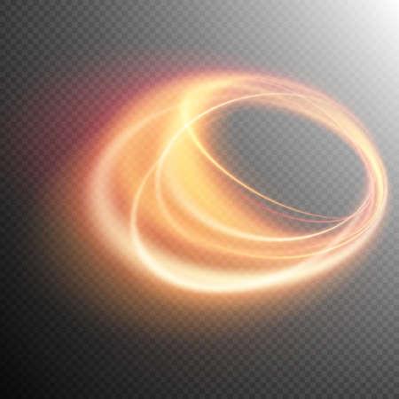 Effet lumineux, ligne d'or, effet tourbillon de lumière, fond clair, une étincelle de lumière, effet brillant, lueur lumière, Glowing effet trace anneau de feu. fichier vectoriel inclus