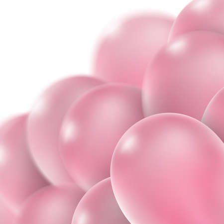 levitation: 3d Realistic Pink Bunch of Birthday Balloons Flying for Party and Celebrations With Space for Message Isolated on White Background.vector file included Illustration