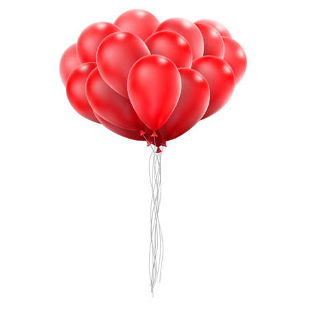 red balloons: Flying realistic red glossy balloons holiday celebration elements. Balloons red. Ballons design. Balloons template. Balloons bunch. Balloons composition. vector file included Illustration