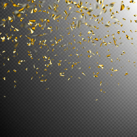 Golden confetti isolated on dark transparent background.  vector file included 스톡 콘텐츠