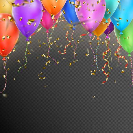Modello di sfondo Celebrazione con palloncini, coriandoli e nastri d'oro rossi su sfondo trasparente. file vettoriale incluso