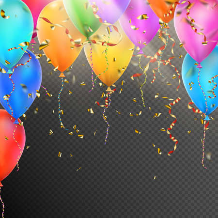 Celebration background template with balloons, confetti and red gold ribbons on transparent background. vector file included Vectores