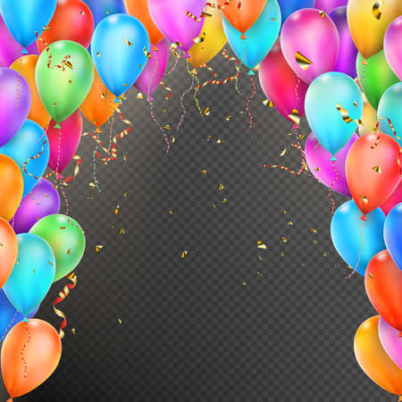 anniversary celebration: Celebration background template with balloons, confetti and red gold ribbons on transparent background.  vector file included Illustration