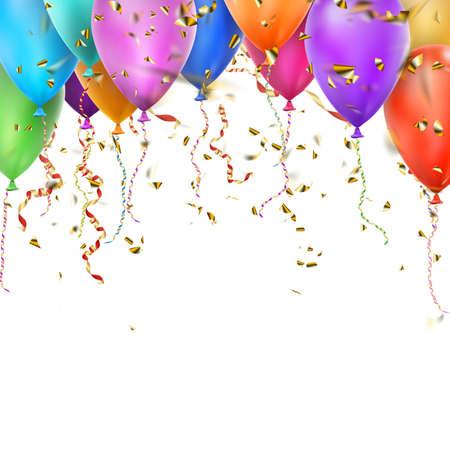 Luxe verjaardag achtergrond met kleurrijke ballonnen en copyspace. vector bestand opgenomen