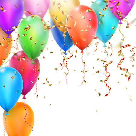 birth day: Birthday card with balloons, confetti and curling streamer or party serpentine. 0 vector file included