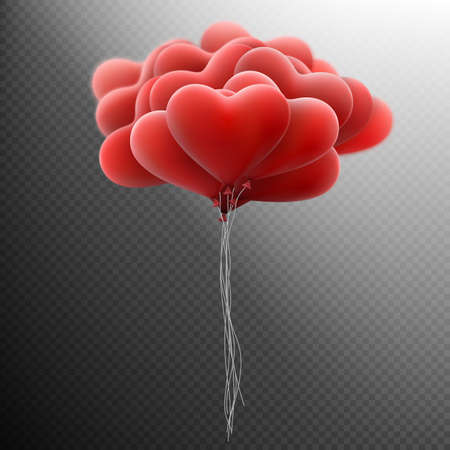 balloon background: Holiday Template with flying bunch of red hearts balloon on dark transparent background. Happy Valentines Day card.vector file included
