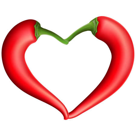 red love heart with flames: Chili Pepper Heart Shape, Isolated On White Background.  vector file included