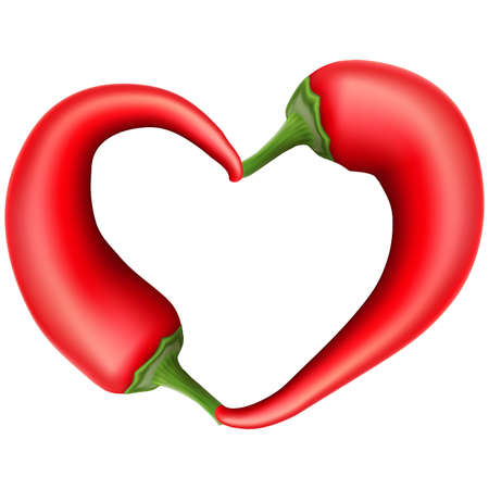 peper: Red chili pepper composed in form of heart. vector file included Illustration