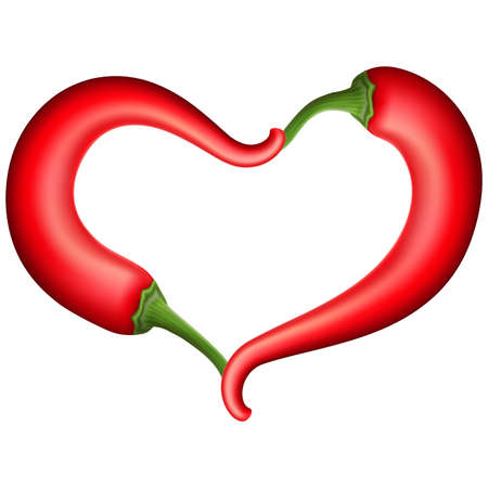 chili pepper: Chili Pepper Heart Shape, Isolated On White Background. vector file included Illustration