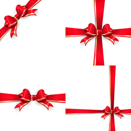 gold bow: Set with different gift wrapping compositions of red gold bow and ribbon isolated on white background. Red gold ribbons. Red gold bow templates. Red gold bow backgrounds.  vector file included Illustration