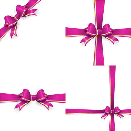 gold bow: Set with different gift wrapping compositions of purple gold bow and ribbon isolated on white background. purple gold bow templates. purple gold bow backgrounds. vector file included