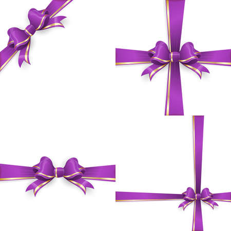 Set with different gift wrapping compositions of purple gold bow and ribbon isolated on white background. purple gold bow templates. purple gold bow backgrounds. vector file included