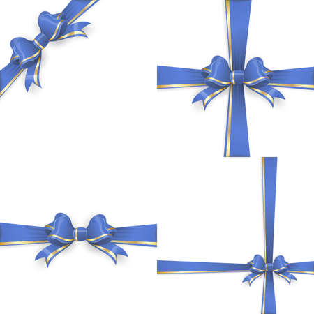 ties: Set with different gift wrapping compositions of blue gold bow and ribbon isolated on white background. Blue gold ribbons. Blue gold bow backgrounds.  vector file included
