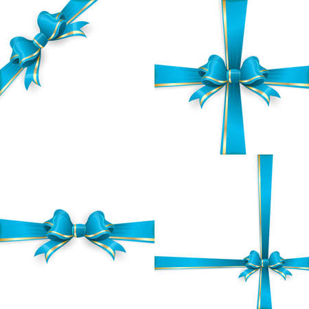 gold bow: Set with different gift wrapping compositions of blue gold bow and ribbon isolated on white background. Blue gold ribbons. Blue gold bow backgrounds.  vector file included
