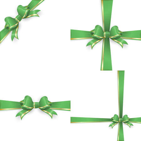 gift ribbon: Set with different gift wrapping compositions of green gold bow and ribbon isolated on white background. Green gold ribbons. Green gold bow backgrounds.0 vector file included