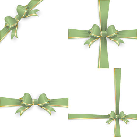 gift ribbon: Set with different gift wrapping compositions of green gold bow and ribbon isolated on white background. Green gold ribbons. Green gold bow backgrounds. vector file included