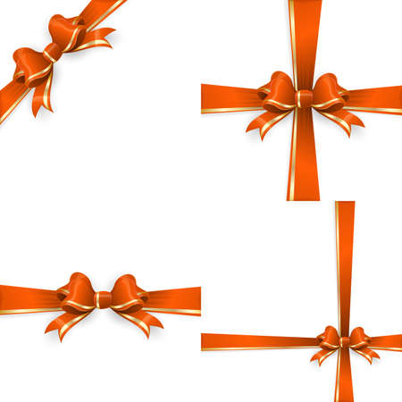 bow ribbon: Set with different gift wrapping compositions of Orange gold bow and ribbon isolated on white background. Orange gold ribbons. Orange gold bow backgrounds.  vector file included