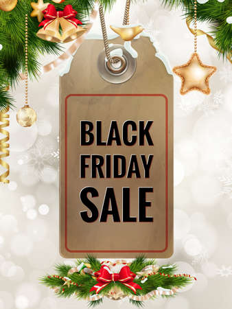 paper tag: Black Friday sale realistic paper price tag on Christmas background with snow.  vector file included