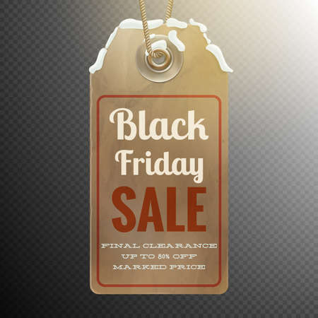 discount tag: Black Friday sale background with realistic discount tag isolated on dark transparent. vector file included