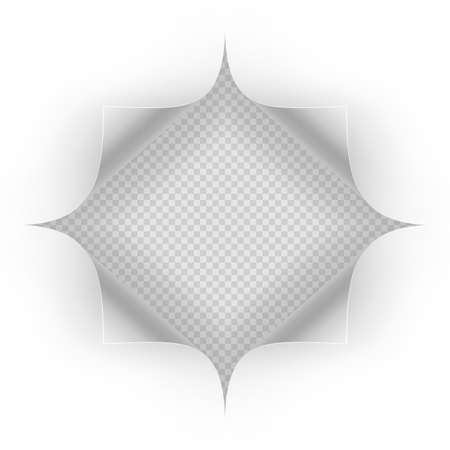 Hole in sheet of paper on a transparent background. Illustration