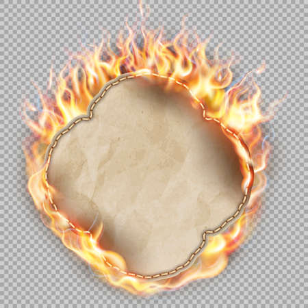 inflame: Sheet of paper in flame on transparent background.