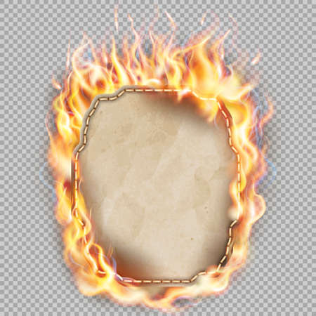 burning paper: Burning sheet of paper isolated background.