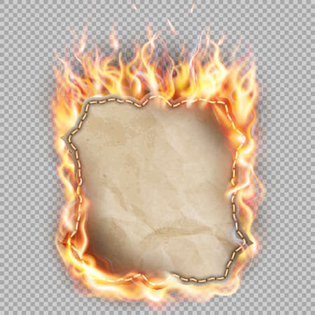 burn: Hot fire banner with orange flames for your design.