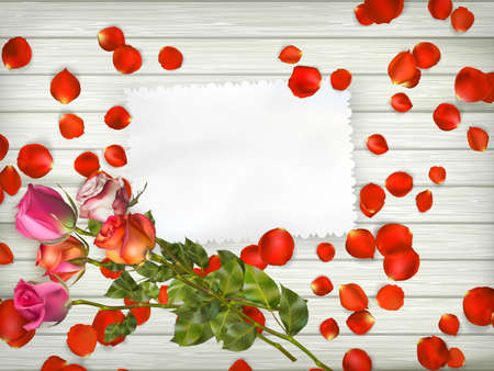st valentin: White card with roses on a white wooden background. Valentines Day concept.