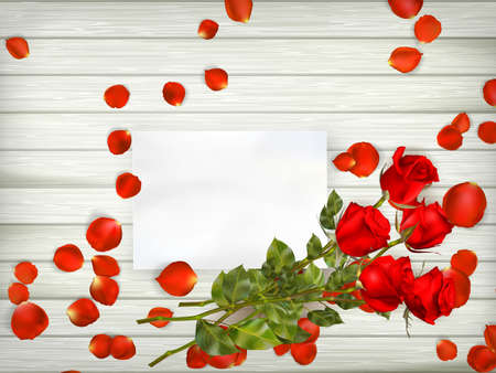 Love scene with free space for text. Table with rose petals, gift and rose. Top view.