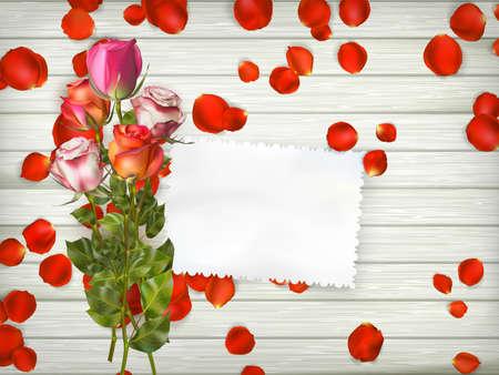 decrepit: Romantic floral background. Valentines day background. Roses on wooden background. Illustration