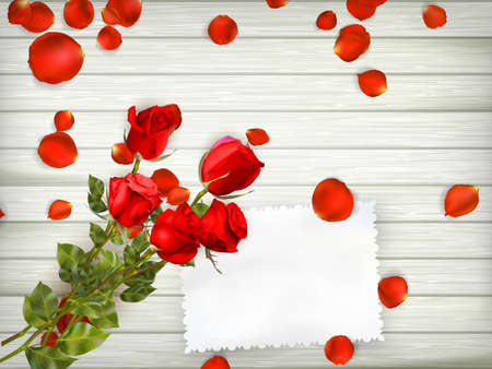 rose petals: Love scene with free space for text. Table with rose petals, gift and rose. Top view.